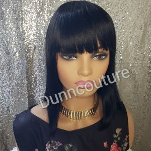 Human hair wig with bang